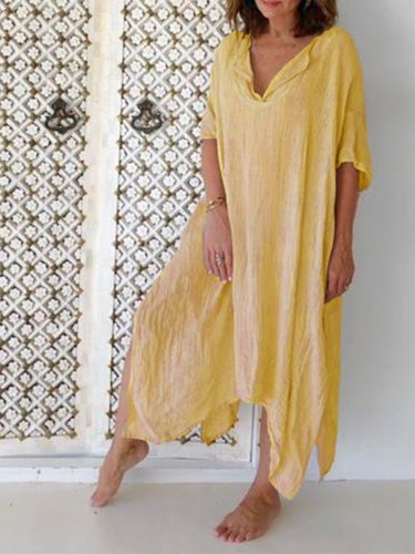 Casual Half Sleeve V Neck Solid Dresses