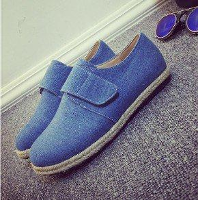 Blue Flat Heel Plus Size Spring/Fall Daily Canvas Magic Tape Flats