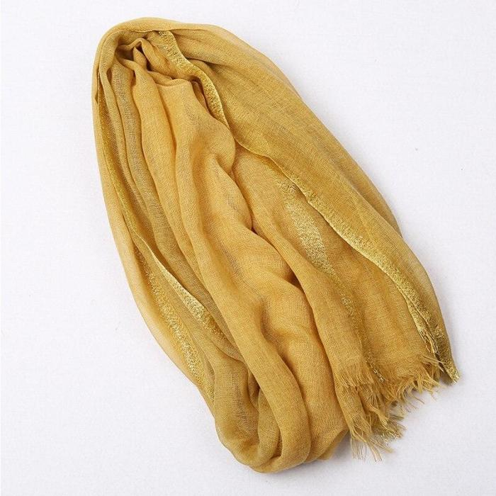 Linen Cotton Scarf Women Solid Color Muslim Hijab Scarves Shawls Plain  Big Pashmina Wrap Head Hair Scarf