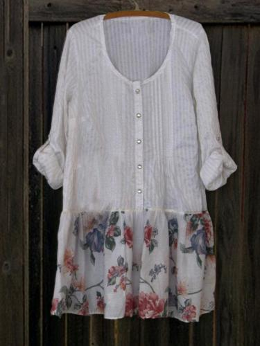 Linen Printed 3/4 Sleeve Shirts & Tops