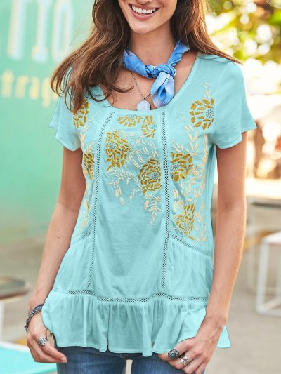Women U-neck Short-sleeved Printed Casual Top