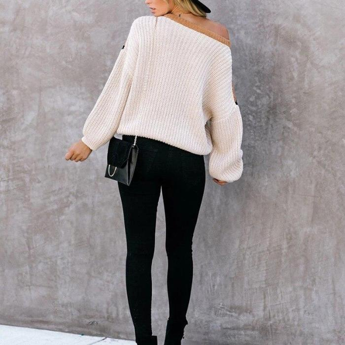 Autumn and Winter New European and American Sweater Stitching Striped Knitted Jumper Women's Explosion Sweater