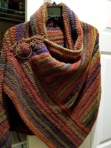 Orange Round Neck Cotton-Blend Vintage Scarves & Shawls