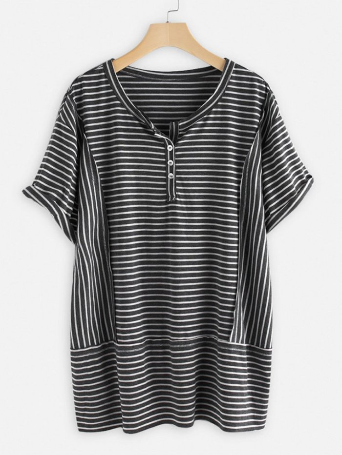 Short Sleeve Striped Shirts & Tops
