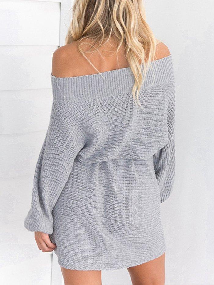 Solid Casual Sheath Off Shoulder Fall Dress