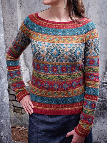 Long Sleeve Tribal Printed Crew Neck Women's Sweaters