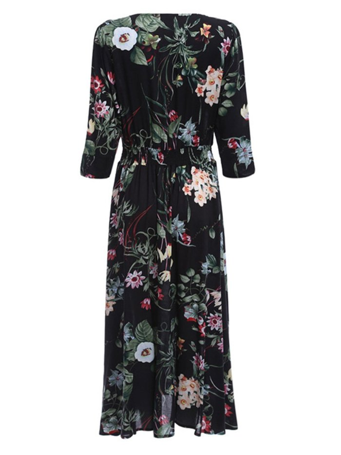 Women Buttoned Statement Floral Casual Dress