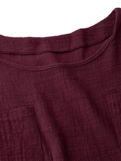 Long Sleeve Casual Pockets Crew Neck Linen Blouse