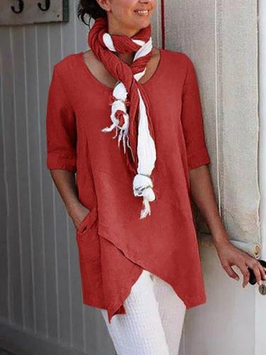 Half Sleeve Plus Size Asymmetrical Simple Blouse