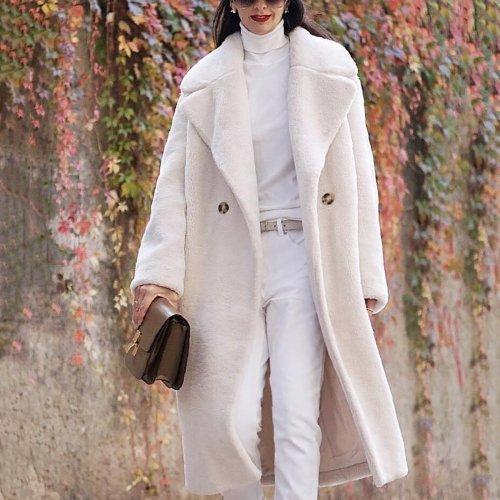 Fashion Lapel Collar Plain Floss Two Buttons  Long Coat