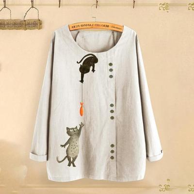 Cat Fish Print Shirt Round Neck Long Sleeve Cotton Linen Casual Blouse