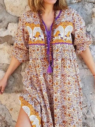 Bohemian casual vacation short sleeve V-neck dress