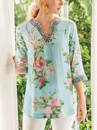 Casual 3/4 Sleeve V Neck Plus Size Printed Tops