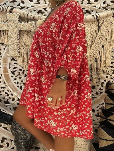V Neck Floral Fall Dress
