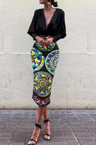 Fashion Business Elegant Slim Floral V Collar Long Sleeve Bodycon Evening Dress