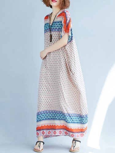 Women Multicolor Dress Shift Daytime Casual Printed Tribal Dress