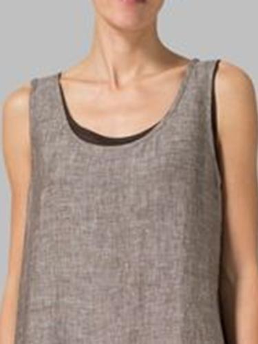 Women Solid Sleeveless Crew Neck A-line Linen Casual Dress