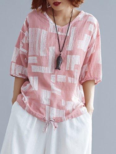 Plus Size Women Cotton And Linen V Neck Short Sleeve Vintage Floral Casual Tops