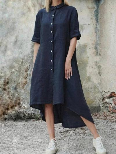 Casual Solid Color Linen Front Button Shirtdress