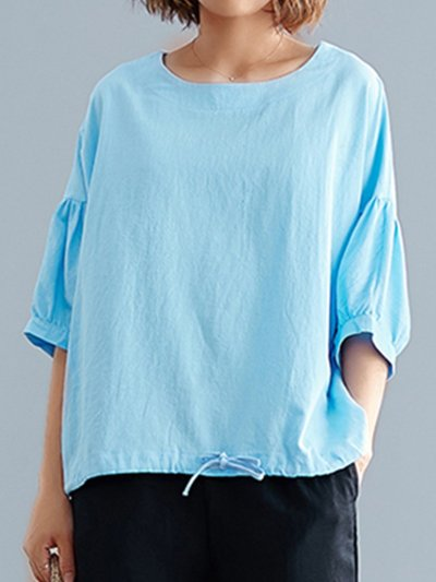 Plus Size Women Short Sleeve Round Neck Solid Loose Casual Tops