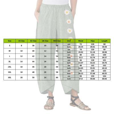 Cotton Linen Pants Women Trousers Loose Casual Flower Print Women's Pants 2020 Female Capris Summer Autumn Pants