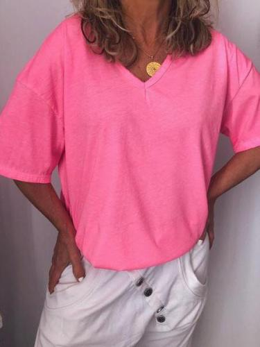 V Neck Cotton-Blend Short Sleeve Shirts & Tops