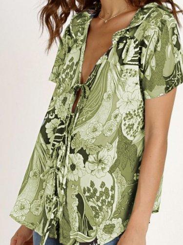 Casual Short Sleeve V Neck Cotton Shirts & Tops