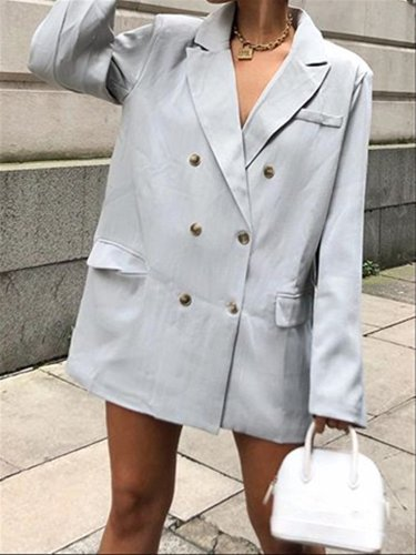 Light Grey Basic Daily Autumn Suit Coat
