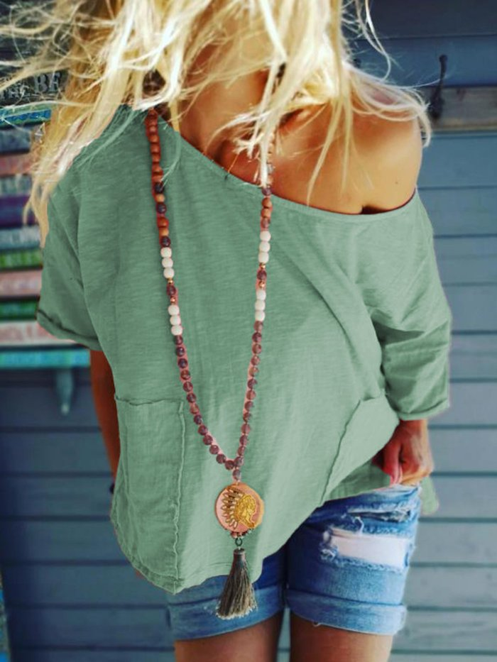 Plus Size Casual Pockets Half Sleeve Solid Tops