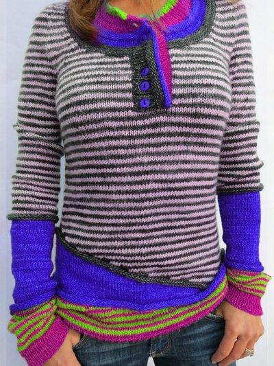 Color-Block Striped Long Sleeve Women's Sweaters