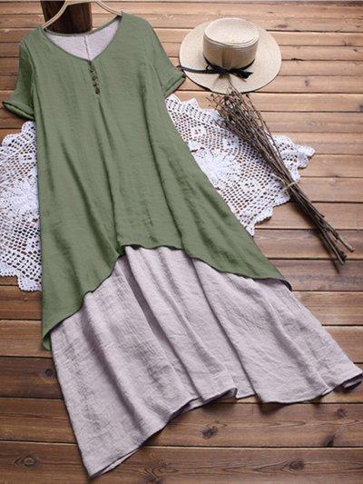 V Neck Short Sleeve Solid Linen Dresses