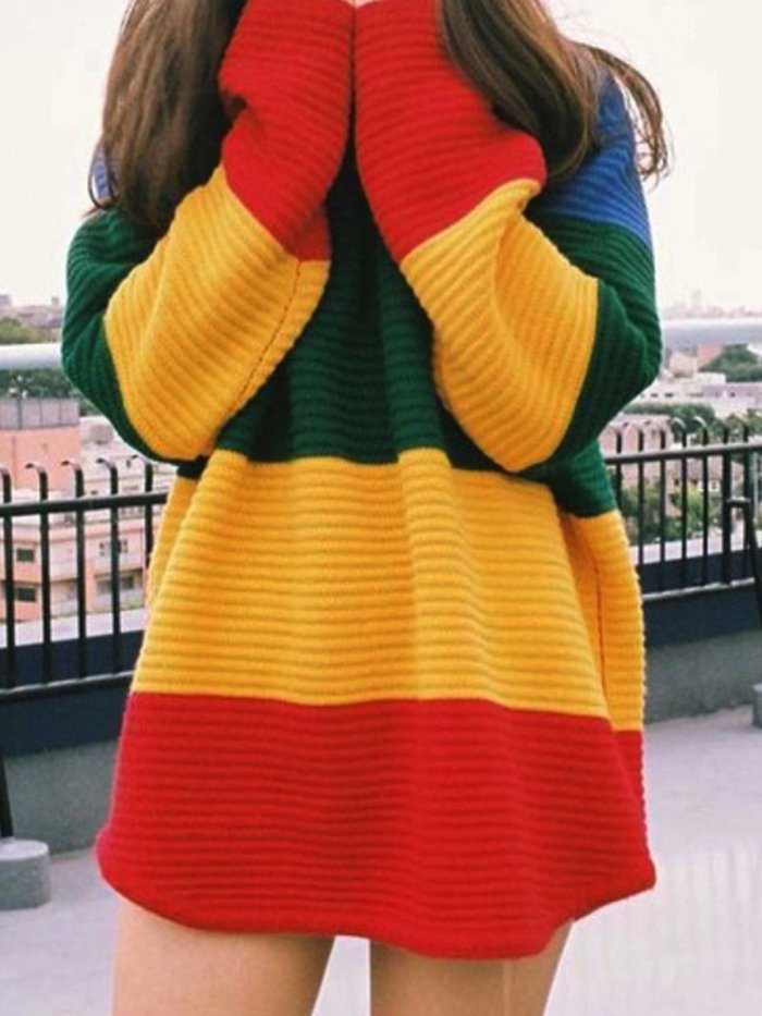 As Picture Knitted Crew Neck Casual Cotton Sweater