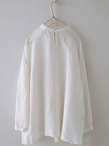 White Plain Casual Crew Neck Shirts & Tops