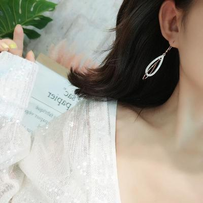 Drop Earrings Long Hook Chain Geometirc Rose Gold Color Women Earrings