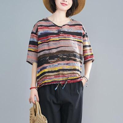 Women Summer New Casual Loose Striped Plus Size T Shirt Cotton Linen Tee Shirt