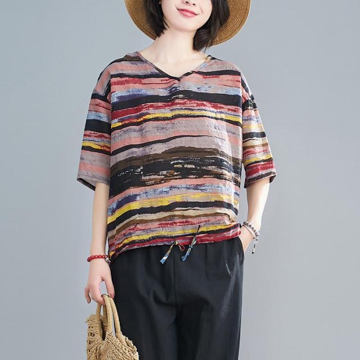 Women Summer New Casual Loose Striped Plus Size T Shirt Cotton Linen Tee Shirt