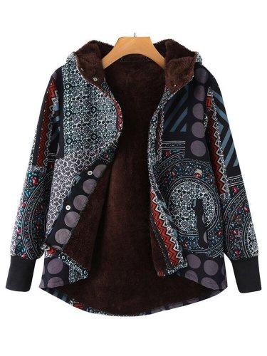 Cozy Hoodie Printed Long Sleeve Tribal Teddy Bear Coats