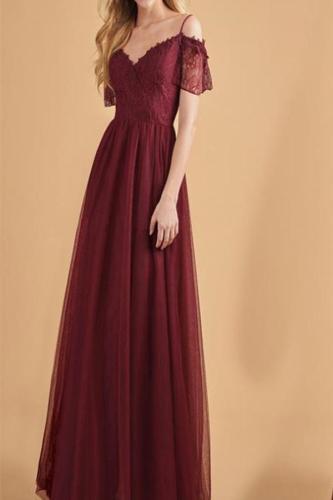 Elegant Noble Slim Plain Bouffant Braces Evening Dress