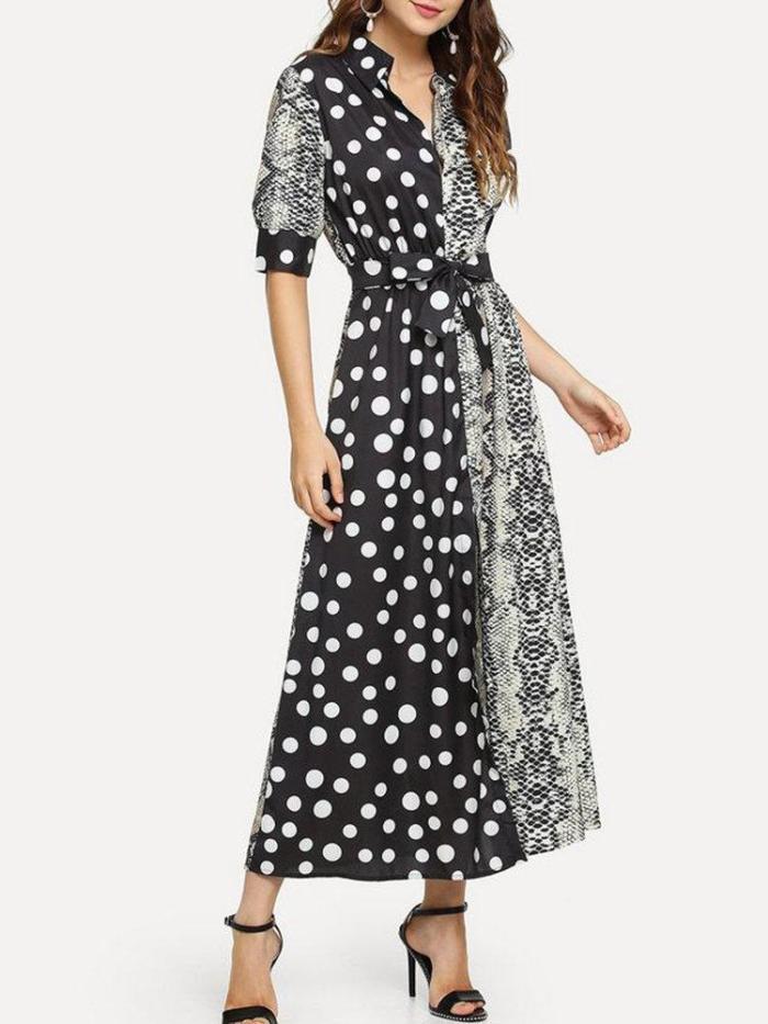 Turn-Down Collar Elegant Polka Dots Dresses