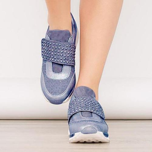 Women's Simple Solid Color Rhinestone Velcro Casual Shoes