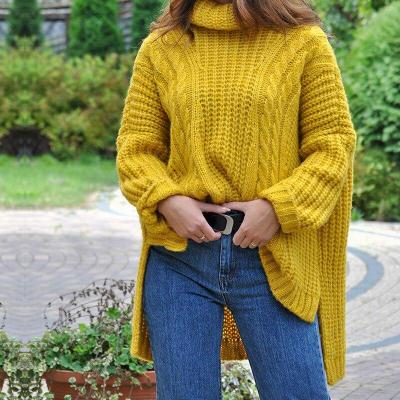 Mid-length High Round Neck Women's Loose Sweater Pullover Long Knit Sweater