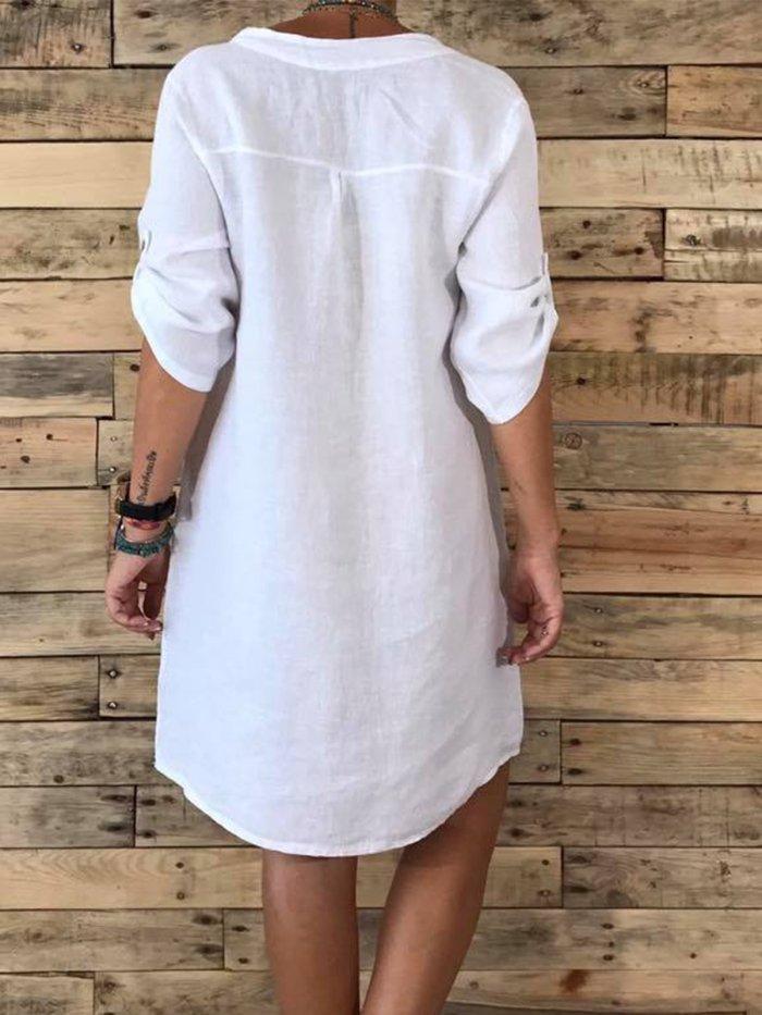 Plus Size V Neck Women Plain Dresses