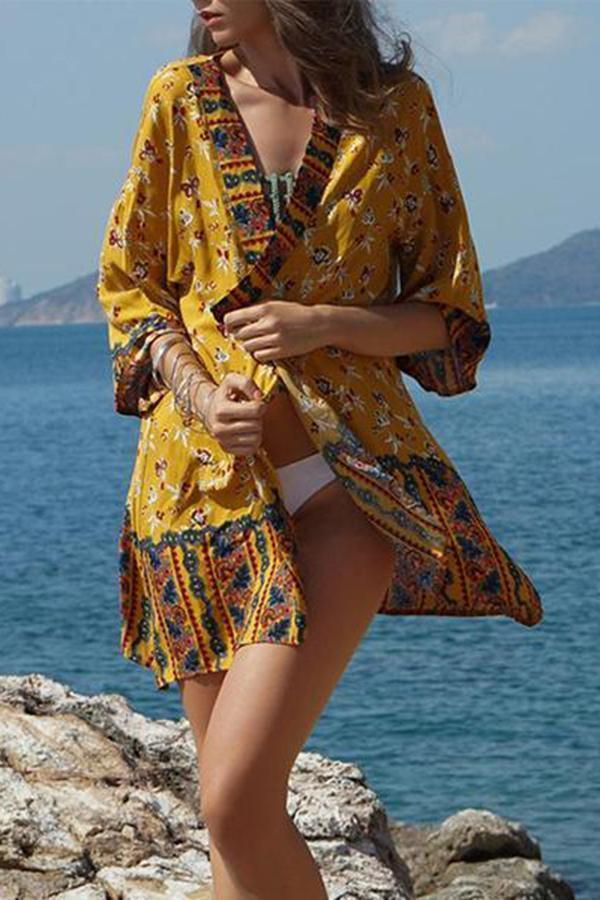 Summer Floral Print 3/4 Sleeve Cover up Swimwear Beachwear Bikini Cardigan