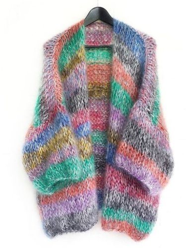 Multicolor Plus Size Long Sleeve Going out Striped Knitted Cardigans