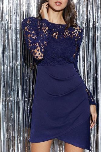 Lace Stitching Long Sleeves Plain Bodycon Dress
