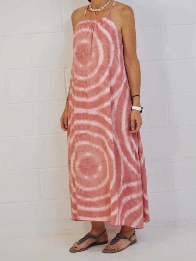 Red Tie-Dyed Halter Sleeveless Maxi Dresses