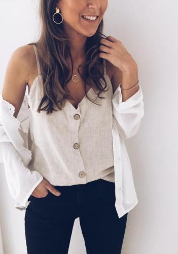 Sleeveless linen jacket