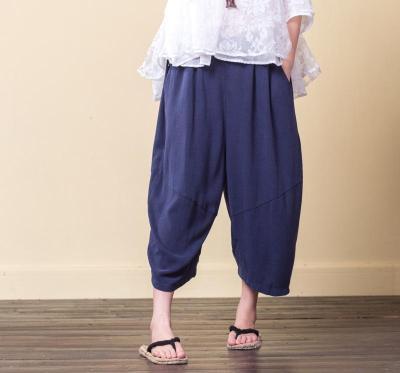 Women Summer Cotton Linen Irregular Loose Casual Vintage Elastic Waist Pants