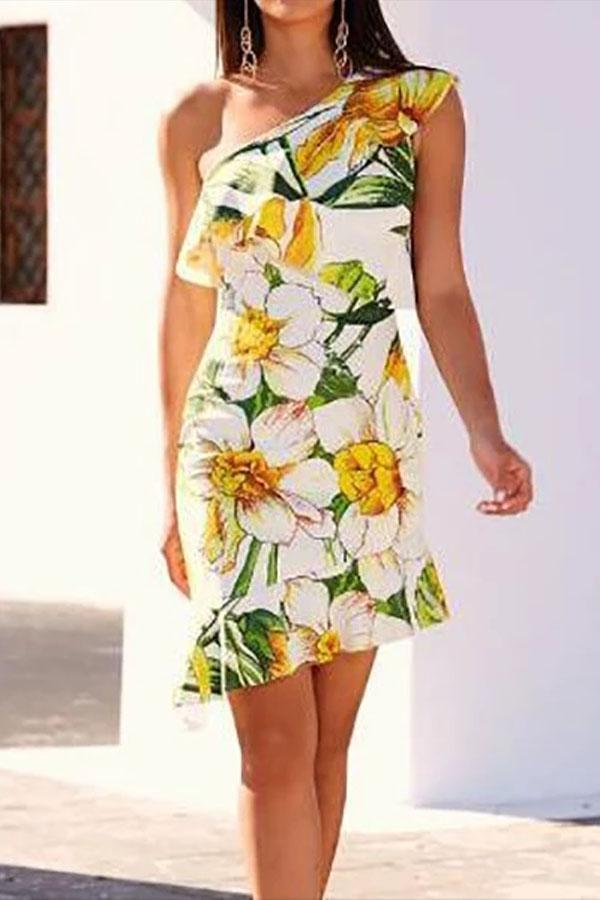 Sexy Floral One Shoulder Sleeveless Irregular Ruffled Hem Bodycon Dress
