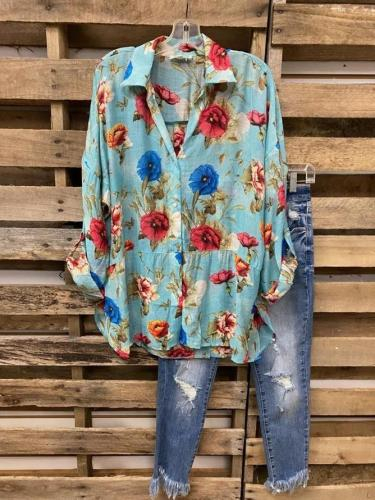 Romantic Floral Floral-Print Shift Shirts
